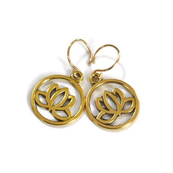 Moodtherapy Jewelry Gold Lotus Flower Earrings Poshmark